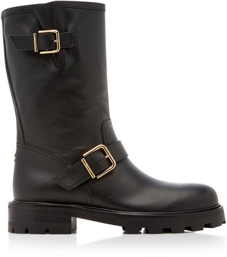 Jimmy Choo Biker Textured-Leather Boots