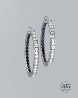 Chicos Sterling Silver Black & White Pave Hoops with Zirconia from Swarovski