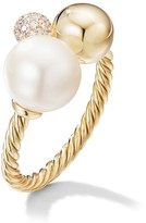 David Yurman Solari Cluster Ring In 18K Yellow Gold With Pearl and Diamonds