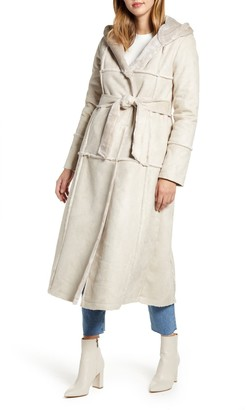 Rachel Parcell Faux Fur Trim Hooded Coat
