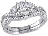 1.12ctw Diamond Engagement Ring and Wedding Band 14K White Gold 2-piece Set