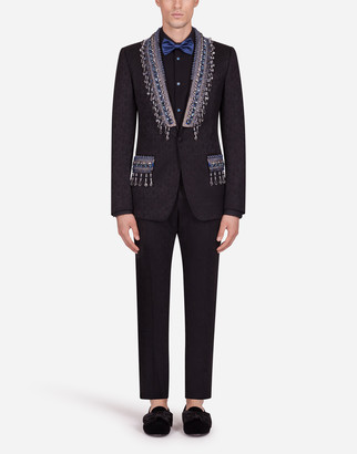 Dolce & Gabbana Floral Jacquard Martini Suit With Applique