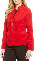 Allison Daley Petite Braided Mandarin Collar Suede Jacket