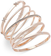 INC International Concepts Rose Gold-Tone 5-Pc. Crystal-Detail Bangle Bracelet Set, Only at Macy's