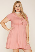 Forever 21 FOREVER 21+ Plus Size Lace-Up Shift Dress