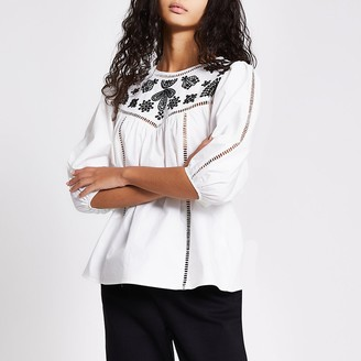 River Island White long sleeve embroidered smock top