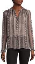 Rebecca Taylor Women's Snake-Print Silk Top