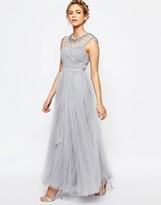 Little Mistress Tulle Maxi Dress With Rhinestone Trim