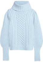 Temperley London Shade Cable-knit Merino Wool Turtleneck Sweater - Lilac