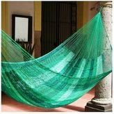 Novica Caribbean Dream Outdoor Garden Patio Pool Multi Shades of Green Stripe Handmade Knotted Rope Style Nylon Double Hammock (Mexico)