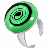 Akuamarina Swirling Murano Glass & Sterling Silver Open Ring