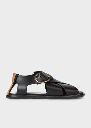 Paul Smith Women's Black Leather 'Arrow' Sandals With 'Bright Stripe' Trim