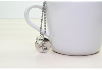 Inspirational Beveled Disc Necklace Made with Swarovski by Pink Box I Love You to The Moon and Back Silver
