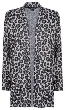 Dorothy Perkins Womens Grey Animal Print Brushed Cardigan, Grey