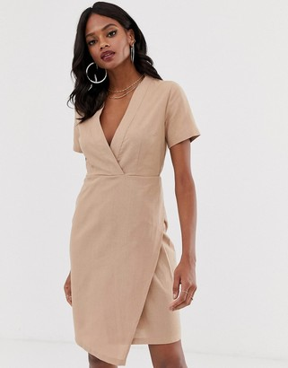 UNIQUE21 linen short sleeve wrap dress-Grey