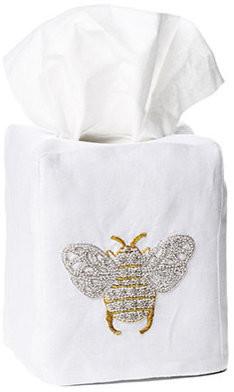Hamburg House Bee Tissue Box Cover, White Linen