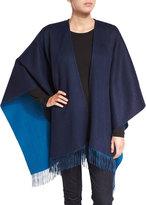 Neiman Marcus Reversible Wool Ruana Shawl, Navy/Moroccan Blue
