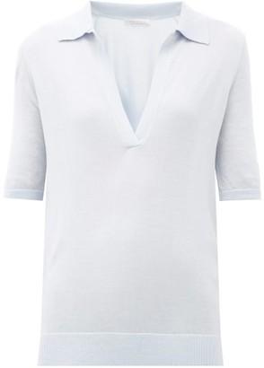 Gabriela Hearst Frank Cashmere-blend Polo Sweater - Womens - Light Blue