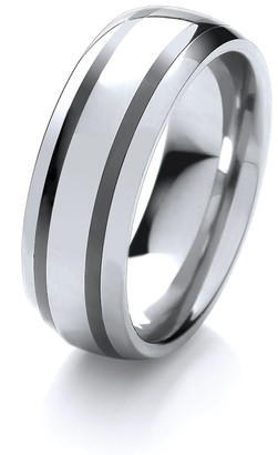 Theia Nickel Free Tungsten & Ceramic - Highly Polished double Striped - 8mm Wedding Ring for Gents - Size U
