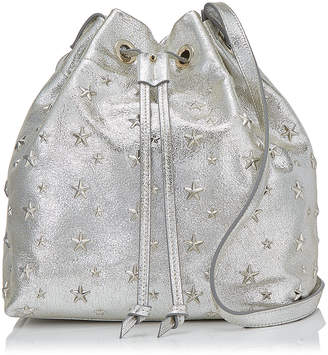 Jimmy Choo JUNO/S Champagne Glitter Leather Drawstring Bag with Star Detailing