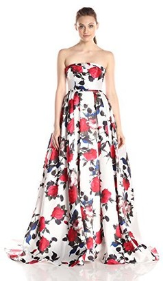 Mac Duggal Women's Long Rose Floral Printed Ballgown