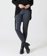 Gray Faux Leather-Accent Leggings