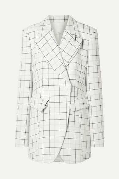 Tibi Embellished Checked Woven Blazer - White