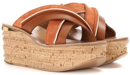 Chloé Camille platform suede and leather sandals