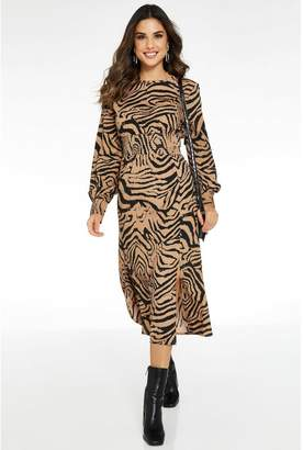 Quiz Tan and Black Animal Print Long Sleeve Split Dress