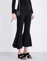 Sandro Flared mid-rise crepe trousers