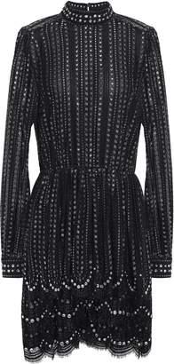 MICHAEL Michael Kors Crystal-embellished Tiered Metallic Stretch-lace Mini Dress