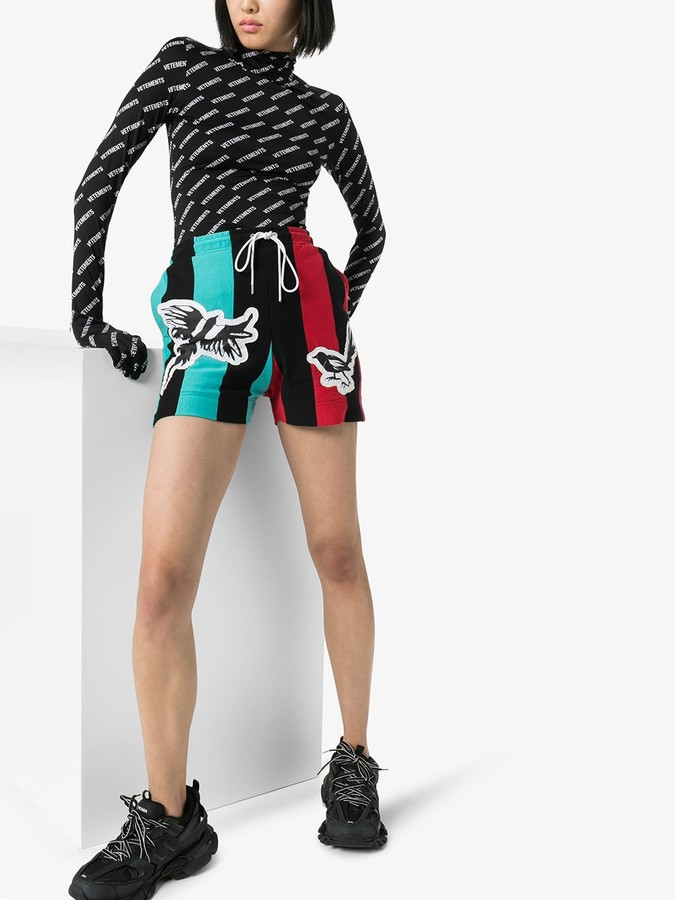 Thumbnail for your product : Charles Jeffrey Loverboy Magpie Stripe Jersey Shorts