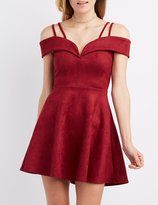 Charlotte Russe Faux Suede Cold Shoulder Skater Dress
