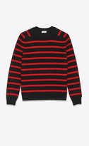 Saint Laurent Knitwear Tops Sailor Sweater In Felted Wool Black M