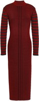 McQ Striped Ribbed-knit Midi Dress