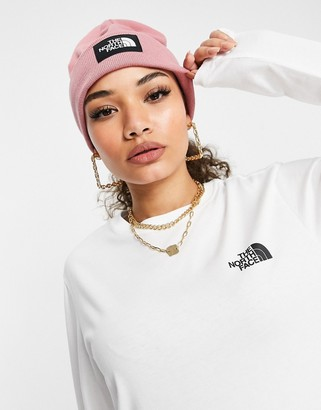 The North Face Dock Worker recycled beanie in pink