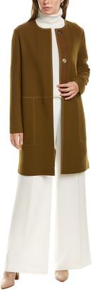 Lafayette 148 New York Kierra Leather-Trim Wool Coat