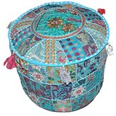 Indian Patchwork Round Floor Ottoman, Decorative Home Living Footstool,Embroidered Round Pouf Cover,Indian Comfortable Floor Cotton Cushion 23 x13 inch