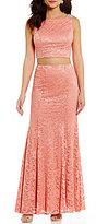 Jodi Kristopher Beaded-Shoulder Glitter Lace Two-Piece Long Dress
