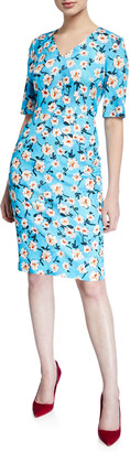 Escada V-Neck Short-Sleeve A-Line Floral-Print Jersey Dress