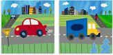 Oopsy Daisy Fine Art For Kids Too Blue Truck and Red Car 2-Piece Canvas Wall Art