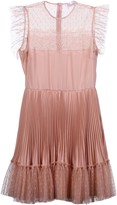 RED Valentino Pleated Lace Detail Dress