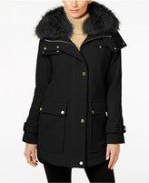 Trina Turk Asiatic Raccoon-Fur-Trim Asymmetrical Coat