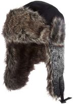 Scala Tweed & Faux-Fur Trapper Hat