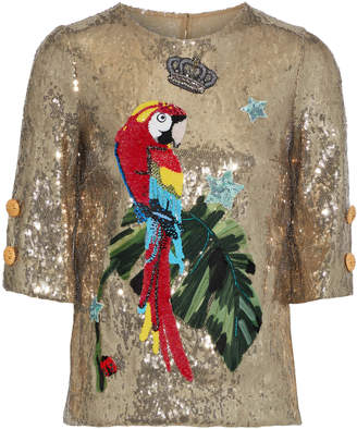 Dolce & Gabbana Appliqued Sequined Stretch-jersey Top