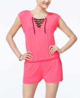 Material Girl Active Juniors' Lace-Up Romper, Created for Macy's