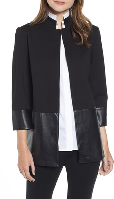Ming Wang Ponte & Faux Leather Jacket