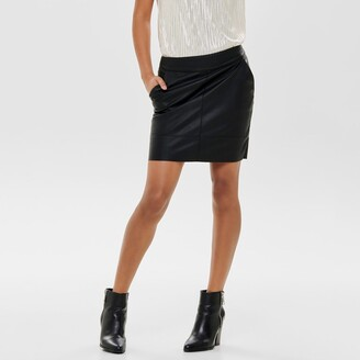 Only Faux Leather Bodycon Skirt with Zip