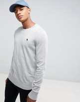Abercrombie & Fitch Crew Neck Sweater Fine Gauge Tonal Icon Logo in Med Gray