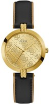 GUESS G Luxe Gold Logo Dial Black Leather Strap Watch